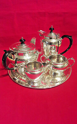 Vintage TEA SET Silver Plated, 4 Piece by Frank Cobb, Sheffield on Round Tray