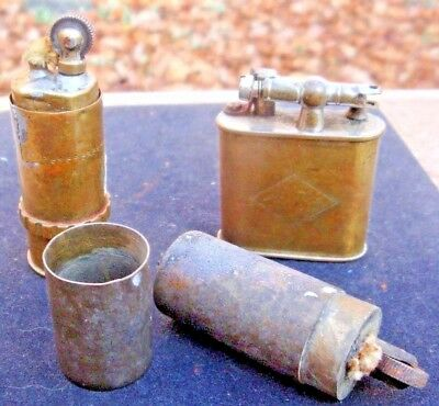 Lot of 3 UNUSUAL Antique / Vintage TRENCH Military? Brass Lighters
