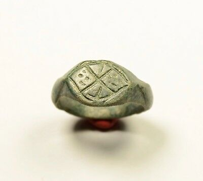 "Genuine Roman Bronze Finger Ring With Decorated ""x"" Bezel"