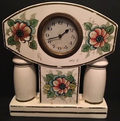 Antique Ceramic Pottery Floral White Mantle Clock Works