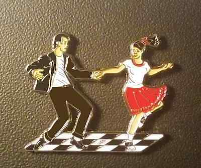 Unique Swing Dance Magnet / Magnetic Lapel Pin, Black, White and Red