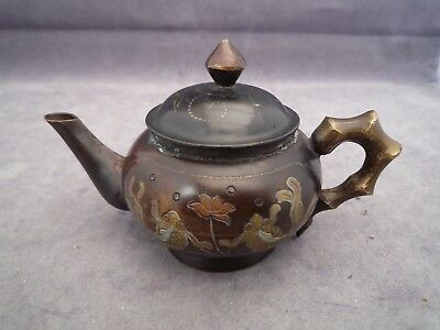Oriental Bronze? Teapot Small 2 1/2 Inch High