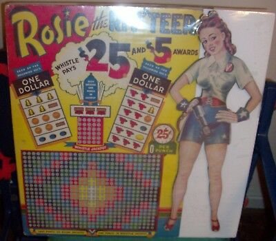 """rosie The Riveter"" Rare Wwii $5-$25 Punch Board - (L@@k!)"