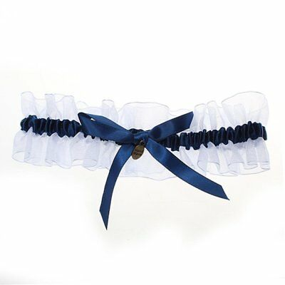 Bride's Bridal Wedding Garters Satin Bowknot Flowers Royalblue A4L9