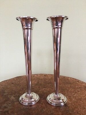 Pair of Antique Sterling silver small flared Vase