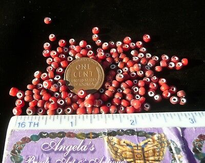 RED WHITE HEART 100 gm-AFRICAN INDIAN TRADE BEADS-MURANO VENETIAN VINTAGE GLASS