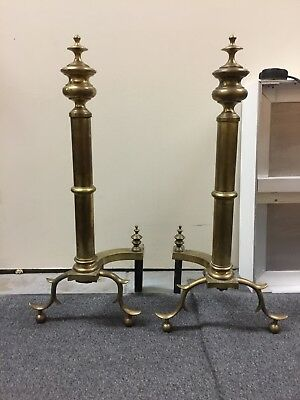 """Solid Brass Andirons FEDERAL STYLE claw and ball  28"""" Tall"""
