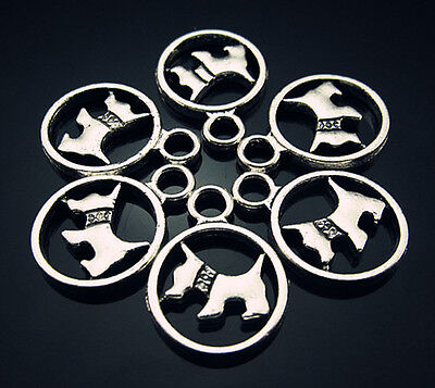 FREE LOTS 20PCS Crafts Design Lucky Dog Tag Tibetan silver Findings Pendant 19mm