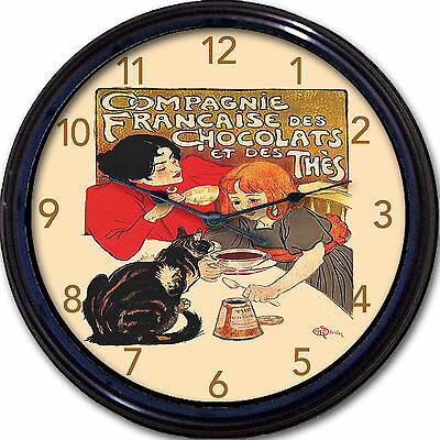 Chocolate Compagnie Poster Wall Clock Steinlin Paris France Country Cat Kitchen