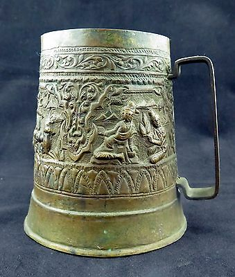 Antique vintage Burmese decorated Buddhist art ceremonial copper cup mug gift