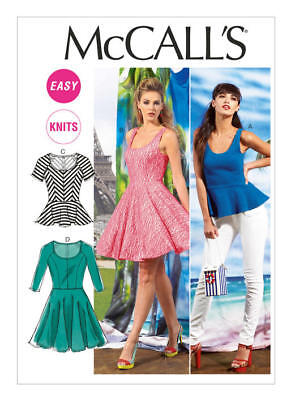 McCall's Sewing Pattern 6754 Misses' 16-26 Easy Fit and Flare Knit Tops Dresses