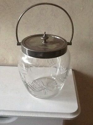 Stunning Silver Plated Glass Biscuit Jar