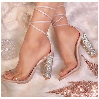 Cape Robbin FIORA-1 Nude Faux Leather Clear Tie Up Chunky Rhinestone Heel