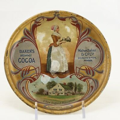 """Antique W. Baker & Co.  Tip Tray - 6"""" - Lithograph Advertisement - Cocoa"""