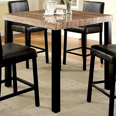 Furniture of America Dymen Contemporary Faux Marble Top Black Counter Height Din