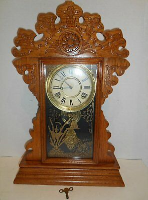 Antique Victorian 8 Day E N Welch Gingerbread Shelf Parlor Clock Oak Working