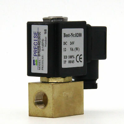 "Precise SFPU220-N02-24VDC 1/4"" Brass Electric Solenoid Valve Direct Acting 24VDC"