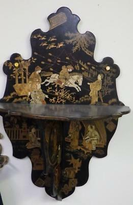 Asian Oriental hand painted gilt, lacquered folding wall shelf Late 1800s SUPERB