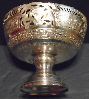 Antique Indian / Burmese / Thai Silver Bowl Filigree & Engraved Stamped+Tested W