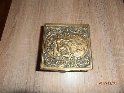 Gorgeous Antique Art Nouveau `Naked Women` Cast Brass Trinket Jewellery Box