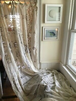 """Antique Long Crocheted & Lace Drapery Panel Curtain-105"""""""