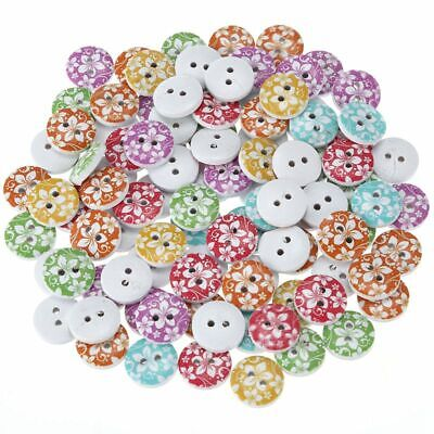 100PCs Wooden Buttons Flower Pattern Mixed Color 2-hole Sewing Scrapbook DI G7L5
