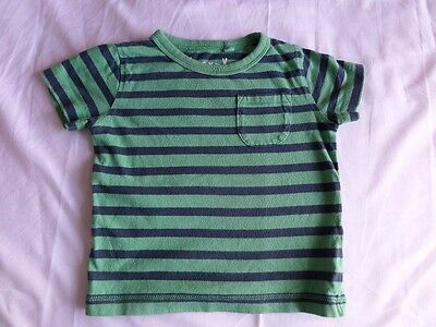 Next Boys Green Striped 100% Cotton Short Sleeve T-Shirt Size 6-9 Months
