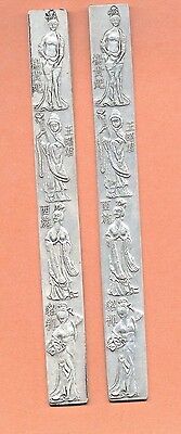 Vintage Chinese Silver  Scroll Weight Paper Weight  Women Ladies Set Of Two