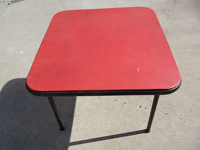 "vintage Cosco Children's Red Card Table 25"" square & 21"" tall - good shape - NR"