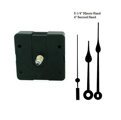 "Clock Movement Mechanism Quartex with 5 1/4"" Black Spade Hands Long Shaft"