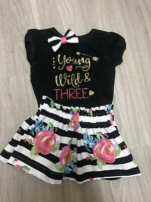 Young Wild and Three Birthday Outfit | 3rd birthday outfit girl |