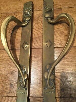 Pair of Large Old Reclaimed Art Nouveau Reclaimed Brass Door Handle Pulls