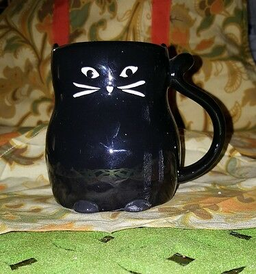 Black Cat Mug 3D 15 Ounce Tail Handle Tag Ceramic Sold Out Design Coffee Tea