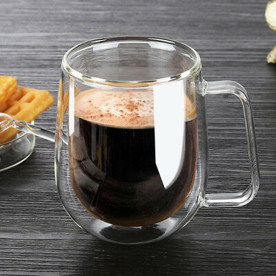 Transparent Double Layer Glass Heat Resistant Tea Coffee Mug Insulation Cup Hot