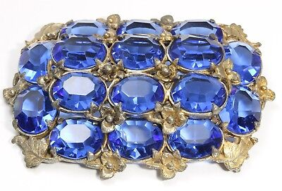 Vintage Art Deco Pot Metal Faceted Sapphire Glass Rhinestone Cluster Brooch Pin