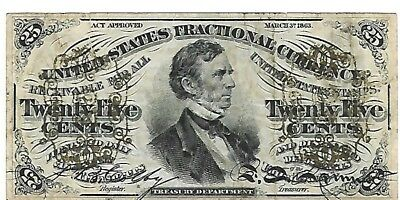 US Civil War 25 cents fractional currency 1863  very fine condition