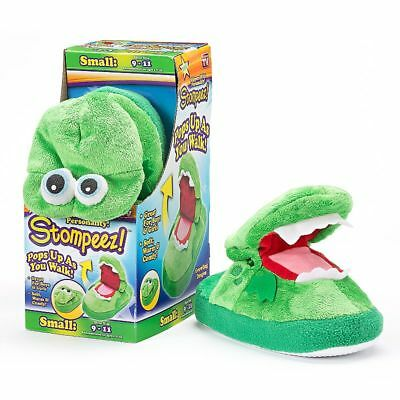 Stompeez Green Growling Dragon Slippers Kids Shoes - 72519 - Small 9-11