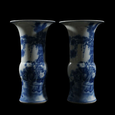 Pair Of Chinese Blue And White Porcelain Figures Vase Marks KangXi AA001