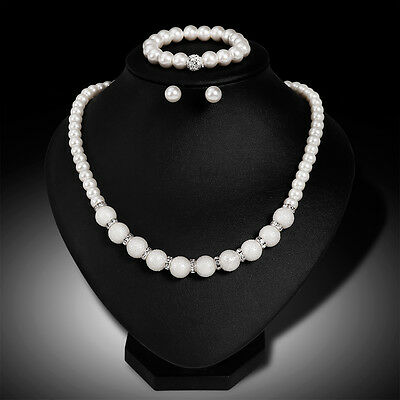 IM- Faux Pearl Necklace Bracelet and Earring Set White Bridesmaid Women Girl Mir