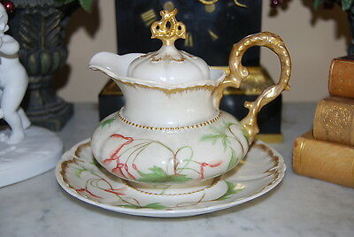 Wonderful Porcelain Hand Painted Large Rococo Cabinet Table Creamer & Underplate