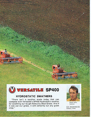 Rare 1970s VERSATILE - SP400 SWATHER - ROSEAU MINNESOTA - 4 Page SALES BROCHURE