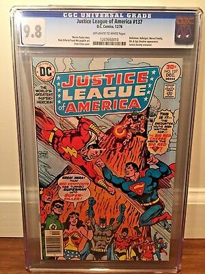 JUSTICE LEAGUE OF AMERICA 137 CGC 9.8!!!!!! NM/MINT 1976 Superman Shazam Fight!!