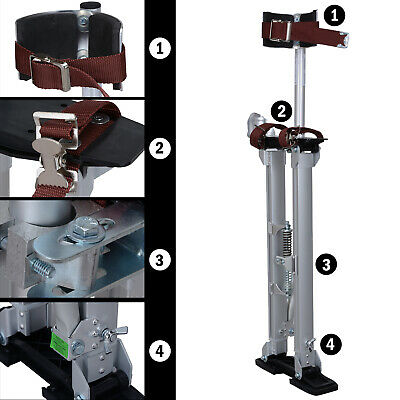 "Drywall Stilts 24-40"" Aluminum Tool Painters Walking Painting Taping Silver"