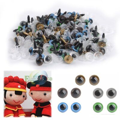 100X 10mm Plastic Safety Eyes Mix Color For Doll Teddy Bear Animal Puppet Craft