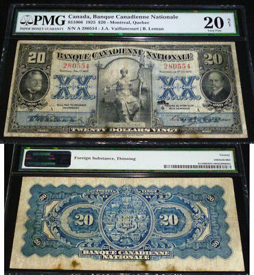 1925 $20  Pmg 20 -Large Chartered Banknote -Banque Canadienne Nationale