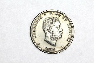 1883 Hawaii Quarter 25C AU About Unc Silver Coin RARE! ONLY 500,000 Made!! 4E16