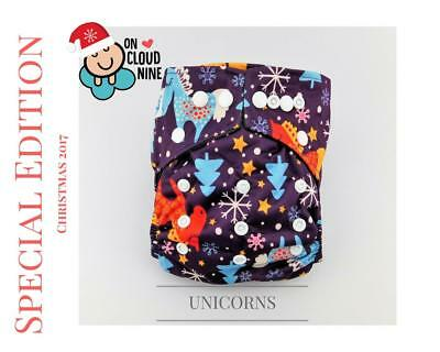 NEW CHRISTMAS EDITION Bamboo Charcoal Cloth Nappy Baby & 5Layer Insert UNICORNS