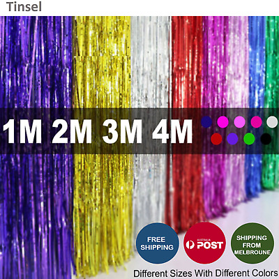 1 2 3 4M Metallic Tinsel Curtain Foil Backdrop Wedding Birthday Hens Party Deco