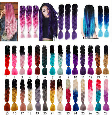 1packs 24'' Jumbo Braiding Hair Ombre Kanekalon African Braids 100g/pc 28 Colors