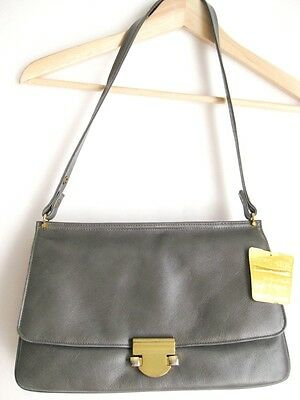 Vintage 1960s Grey Gold Clasp Tag Still Attached Leather Bag